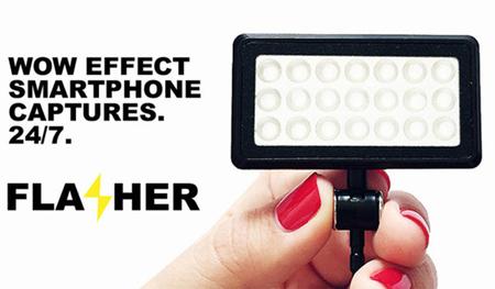 Flasher, una lámpara LED diseñada para ayudarnos a sacar más partido a la cámara de nuestro móvil