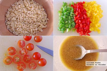 Receta de refrescante ensalada colorida de bulgur. Pasos