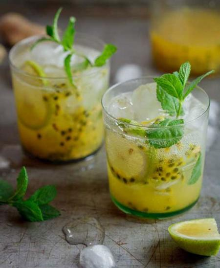 receta de cóctel fruta de la pasión y jengibre
