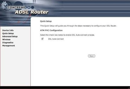 Interfaz web Comtrend