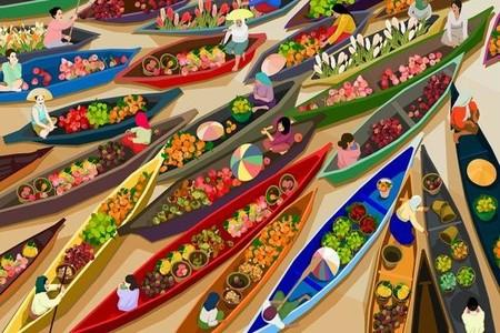 Los coloridos y alegres mercados mundiales pintados por Jingyao Guo