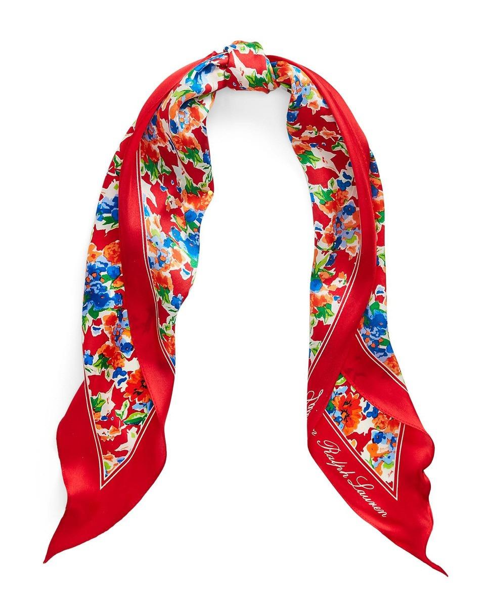 Fular Lauren Ralph Lauren de seda en rojo con print floral multicolor