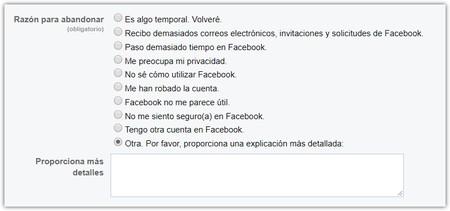 Facebook Desactivar Cuenta 3