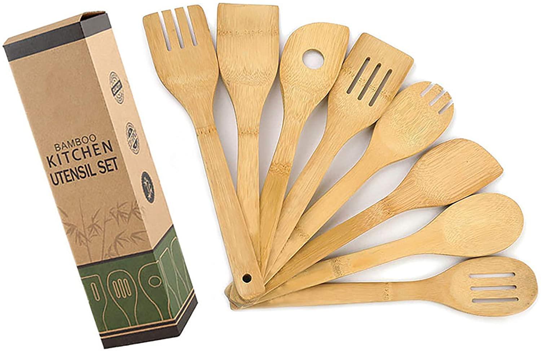 8 Piezas Juego de Utensilios de Cocina de Madera de Bambú, Cuchara y Espátula, Mezcla Ollas y Sartenes Antiadherentes y Wok, Juego de Utensilios de Cocina de Bambú