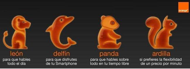 Tarifas Orange: Ardilla, Panda, León, Delfín y Pinguino