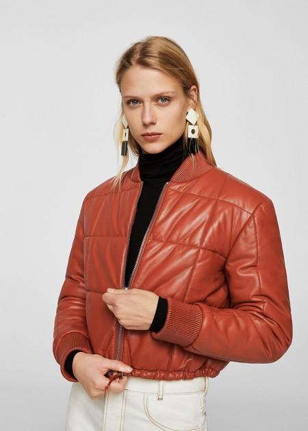 mango chaqueta bomber piel