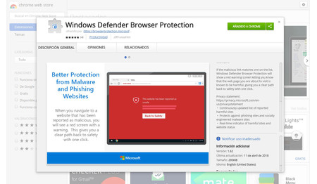 Windows Defender Browser Protection Chrome Web Store