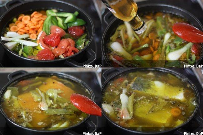 Receta de salmón en escabeche con verdura. Pasos