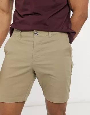Pantalones cortos chinos ajustados en beis de ASOS DESIGN