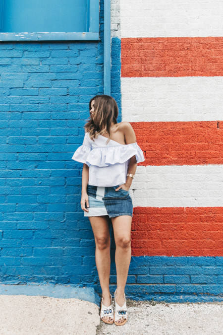 Patchwork Denim Skirt Off Shoulders Assymetric Top Stripes Marni Sandals Outfit Dallas 10