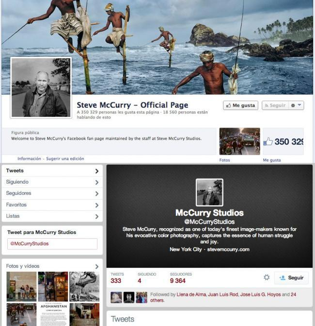 facebook y twitter de Steve McCurry