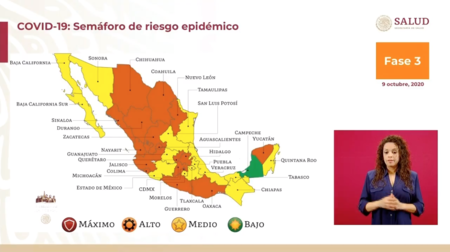 México se estanca en el semáforo de COVID, siete estados retrocedieron de amarillo a naranja