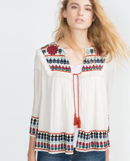 Blusa Boho Bordada Zara 1