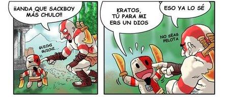 Imagen de la semana: viñeta sobre Kratos y su Sackboy