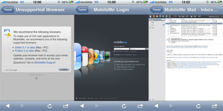 Accede a la web de MobileMe desde el iPhone e iPod touch