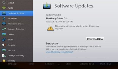 RIM actualiza BlackBerry Tablet OS v1.0.6 con Flash 10.3 y soporte para AIR 2.7
