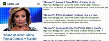 Así titula Diario Gol, el rey del clickbait que mató a María Teresa Campos en el directo de MYHYV