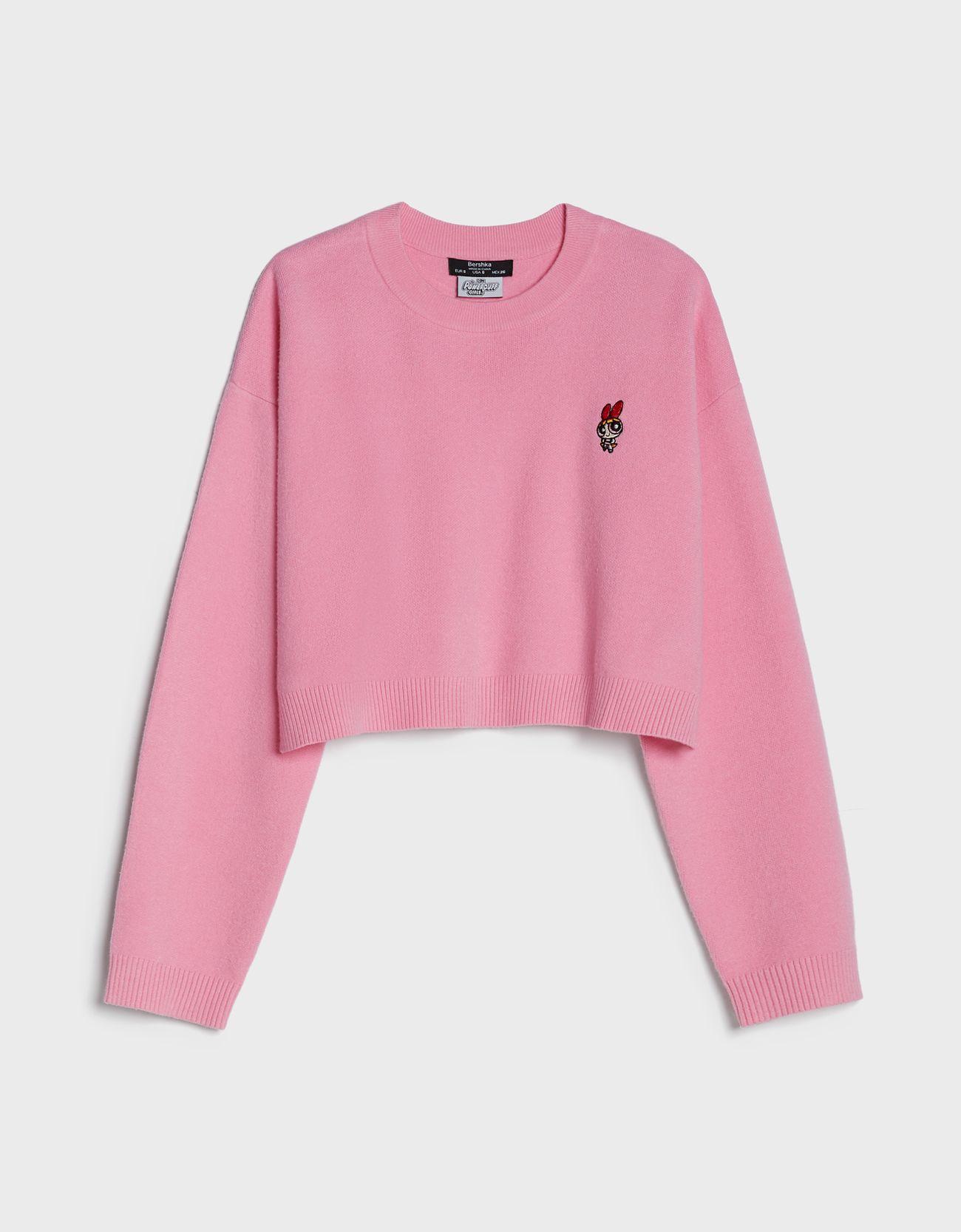 Jersey de punto cropped en rosa.
