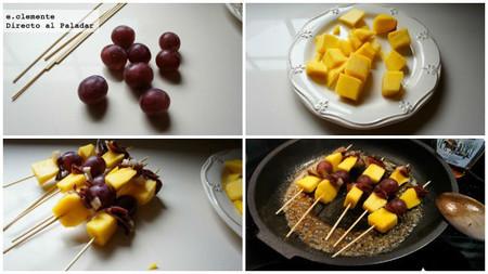 Brochetas de jamón de pato, mango y uvas
