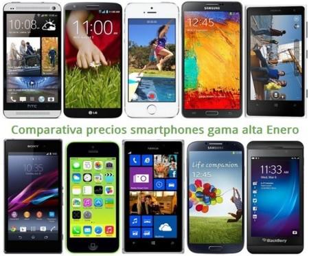Comparativa Precios iPhone 5S, Galaxy Note 3, Lumia 1020, HTC One, LG G2, Xperia Z1 y otros gama alta en Enero de 2014