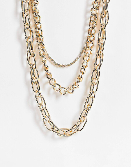 Collar Multicadena Dorado De Eslabones Variados De Topshop