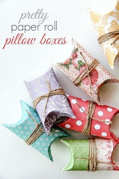 Manualidad con rollos de cartón y papel scrapbook: preciosas cajitas decoradas