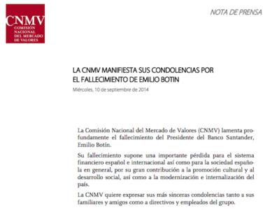 La educación de la CNMV con Botín no es un buen ejemplo para su misión reguladora