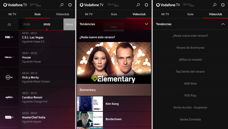 Interfaz App Vodafone Tv