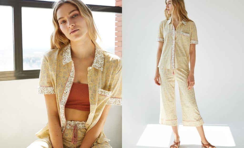 Pijama camisero Capri hojas algodón orgánico