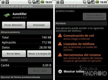 Información de una aplicación en Android