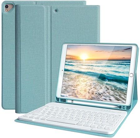 Funda Teclado iPad 10.2, Funda iPad 2020 con Ranura para Lápiz y Español (Incluye Letra Ñ) Teclado Bluetooth Inalámbrico...