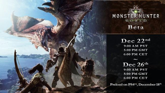 Monster Hunter World Beta Horarios