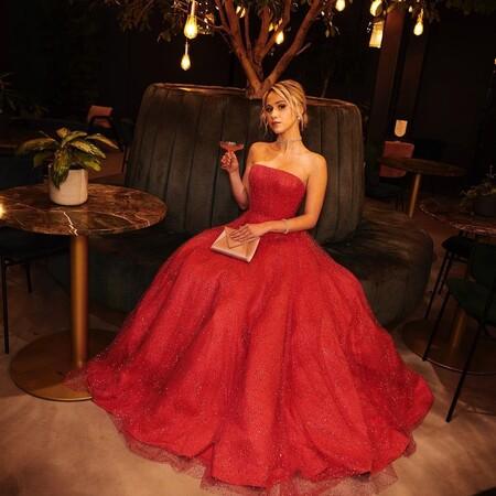 Maria Bakalova Armani Prive Golden Globes 2021