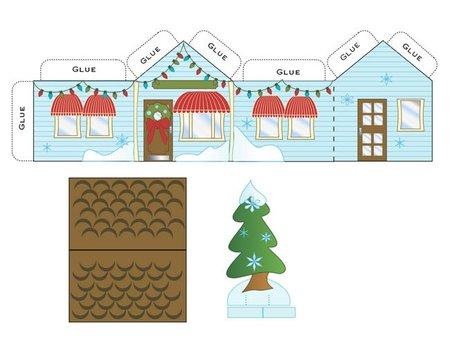 Preciosa casita navideña recortable para imprimir