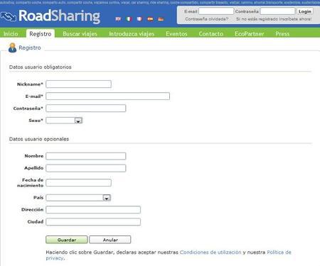 Plataformas de coche compartido: Roadsharing