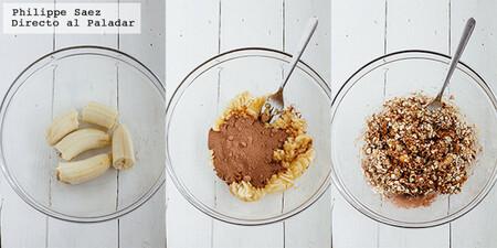 Galletas de avena, chocolate y plátano. Receta fácil y saludable con solo tres ingredientes