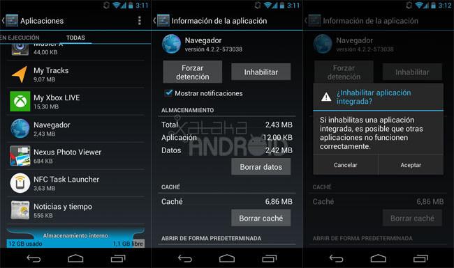Inhabilitar aplicaciones en Android