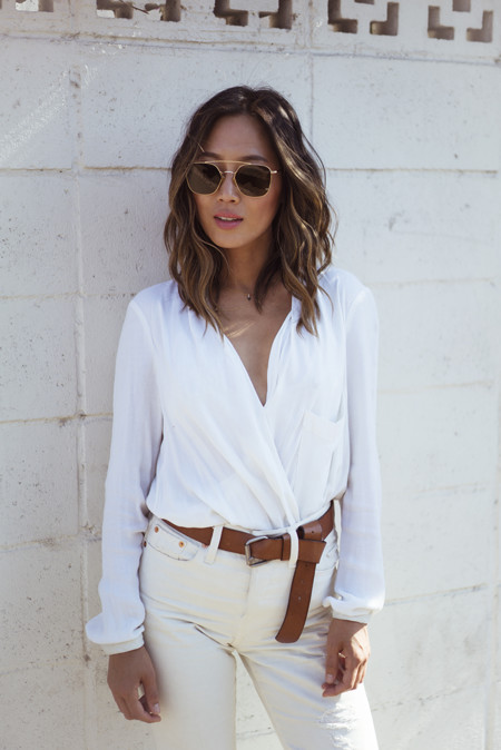 Aimee Song Of Style Helmut Lang Wrap Blouse Ahlem Concorde Sunglasses