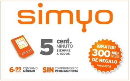 Simyo lanza nueva tarifa de 5 céntimos/minuto + 300MB gratis para siempre
