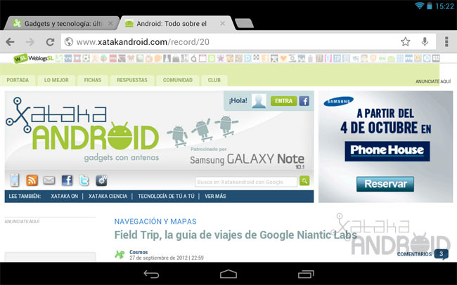 Chrome para tablets Android