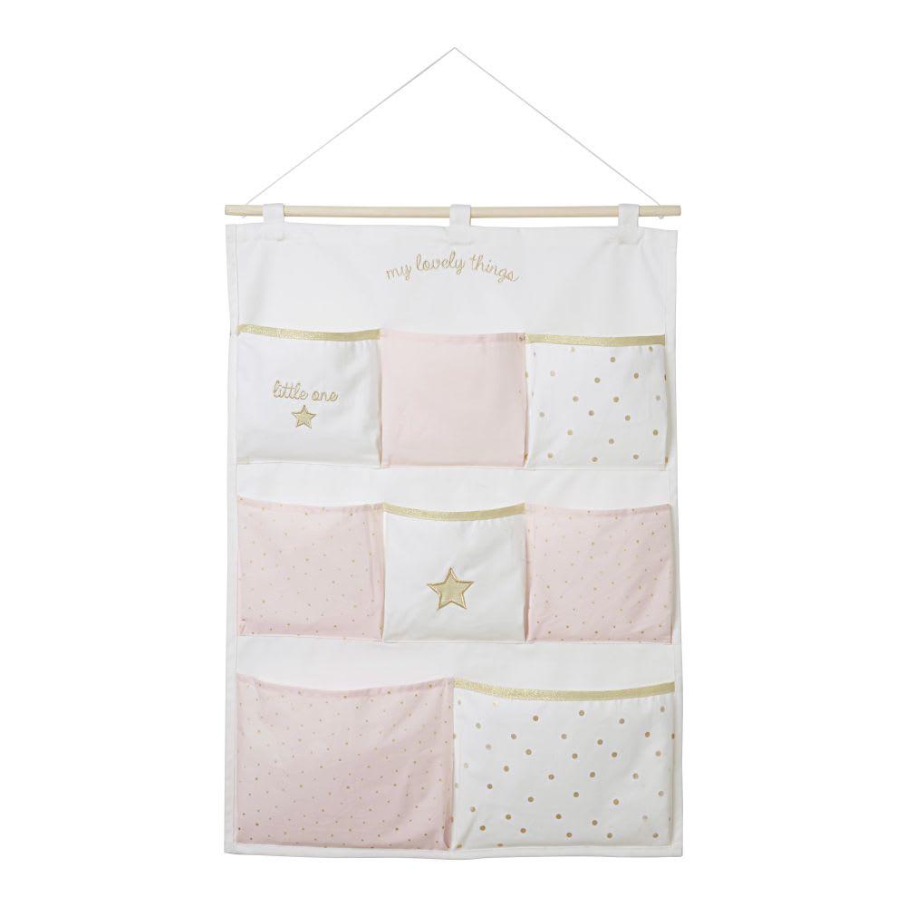 Organizador de pared de algodón blanco, rosa y dorado 50 x 70