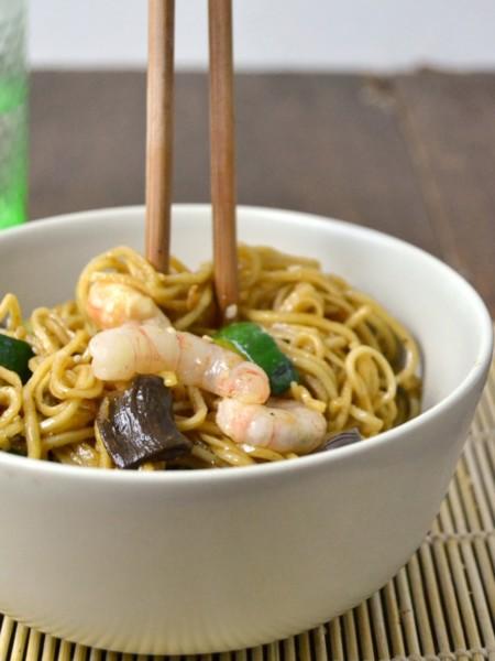 Noodles Con Verduras Y Gambas 3
