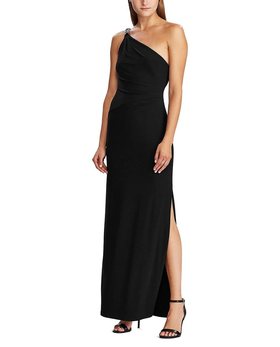 Vestido negro largo de corte asimétrico de Lauren Ralph Lauren