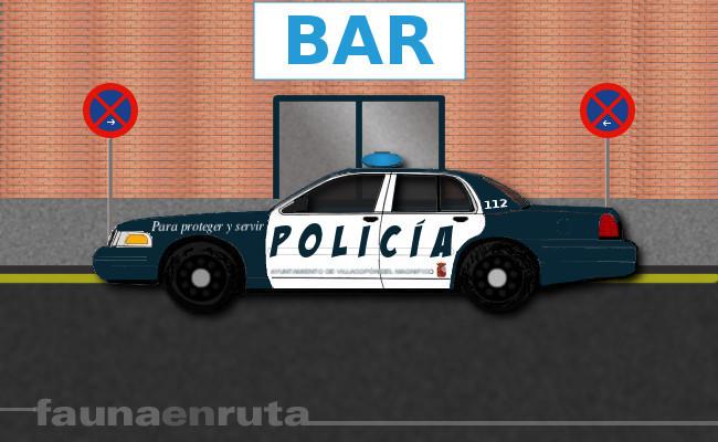 Policía dando ejemplo