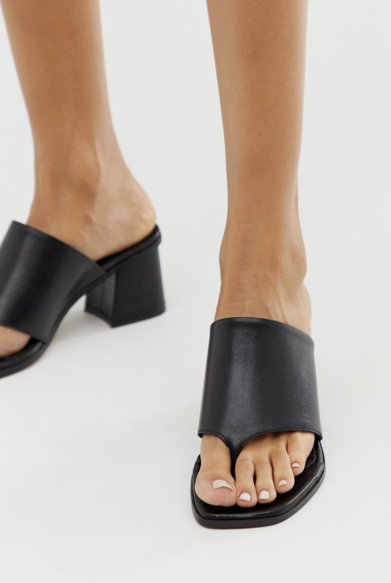 Sandalias de tacón negras de cuero con tacón cuadrado Hold up premium de ASOS DESIGN