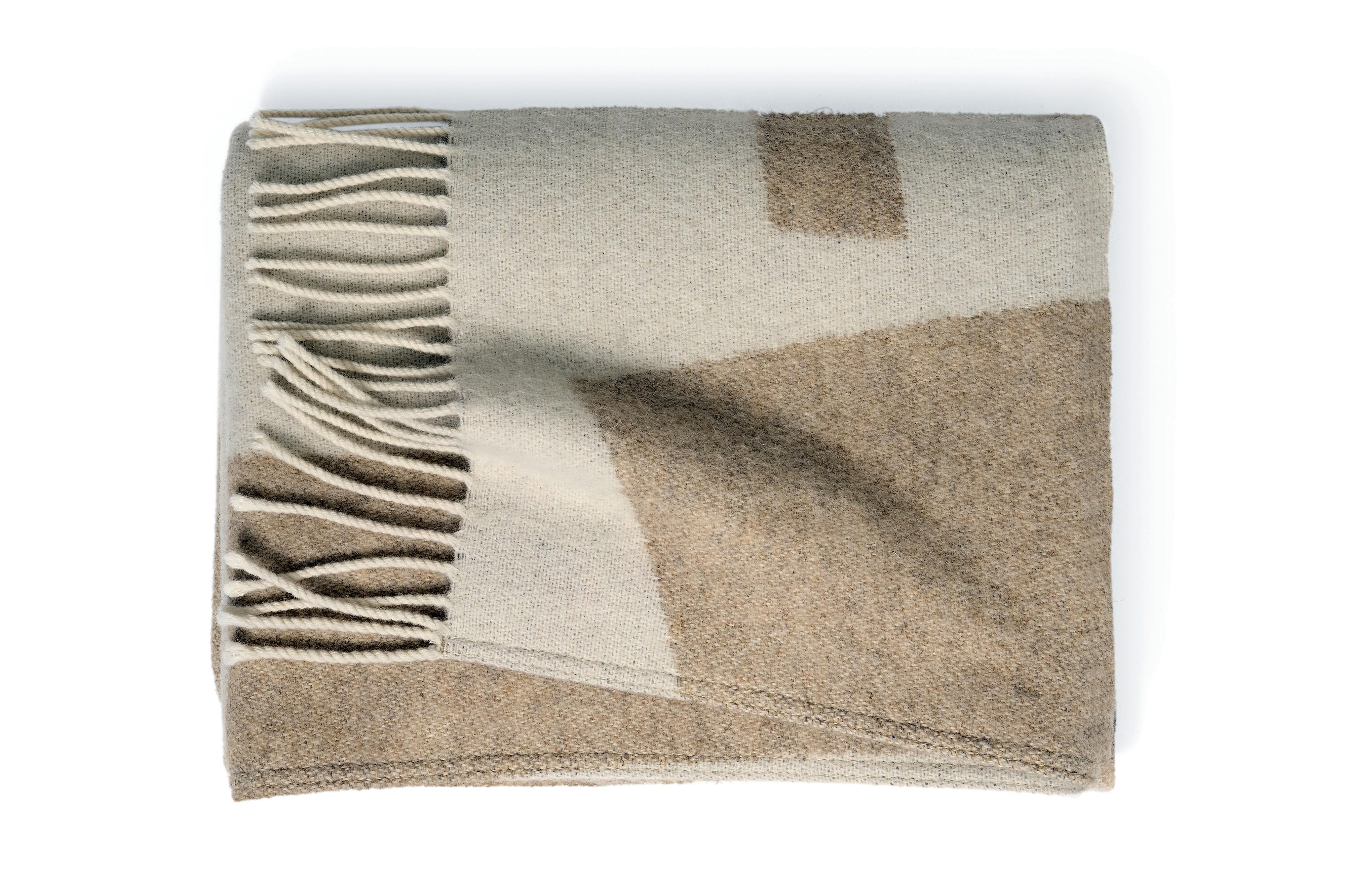 Manta de lana de 125 x 170 cm, en tonos neutros