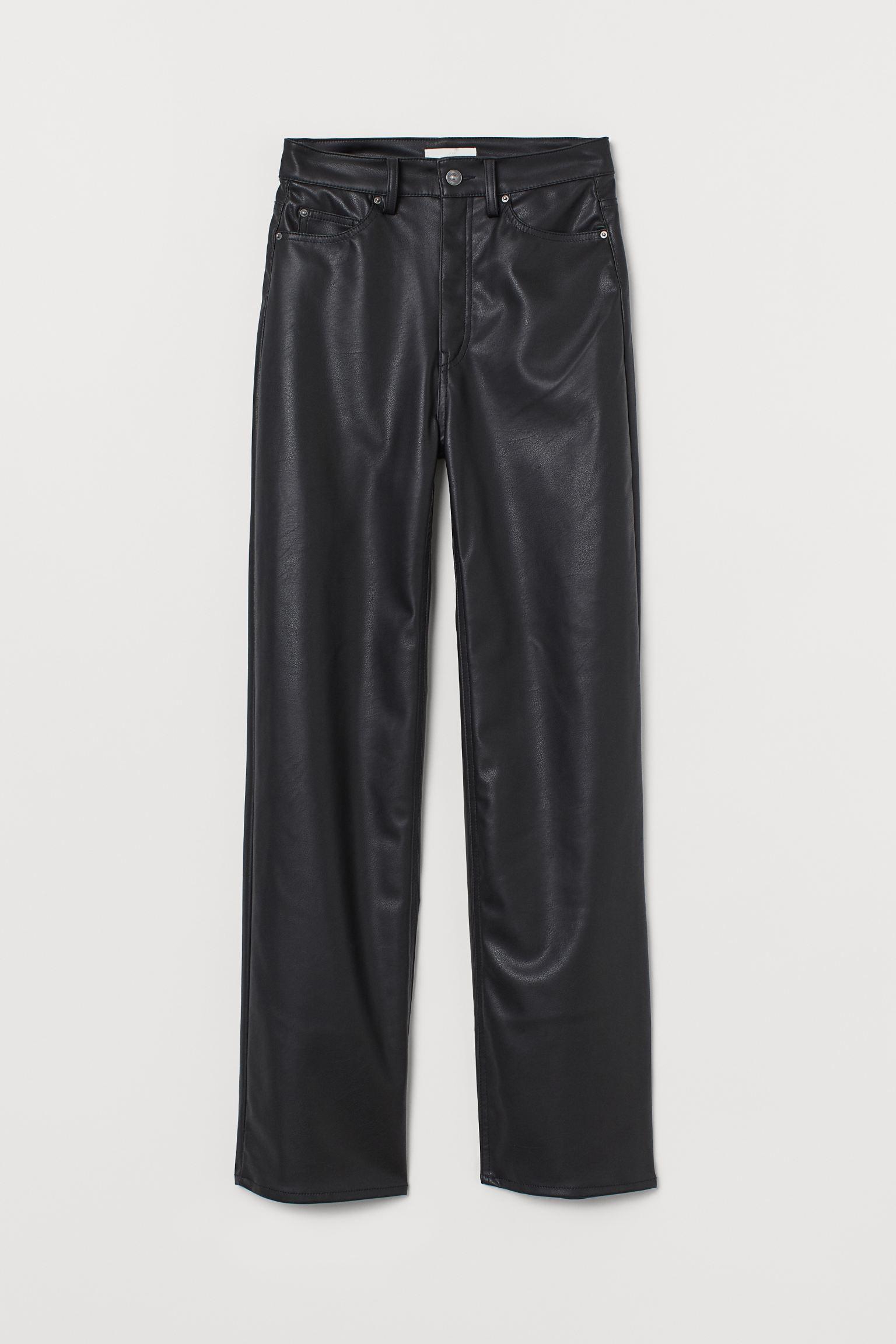 Pantalones rectos en piel sintética