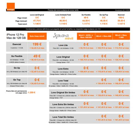 Precios Iphone 12 Pro Max De 128 Gb A Plazos Con Tarifas Orange