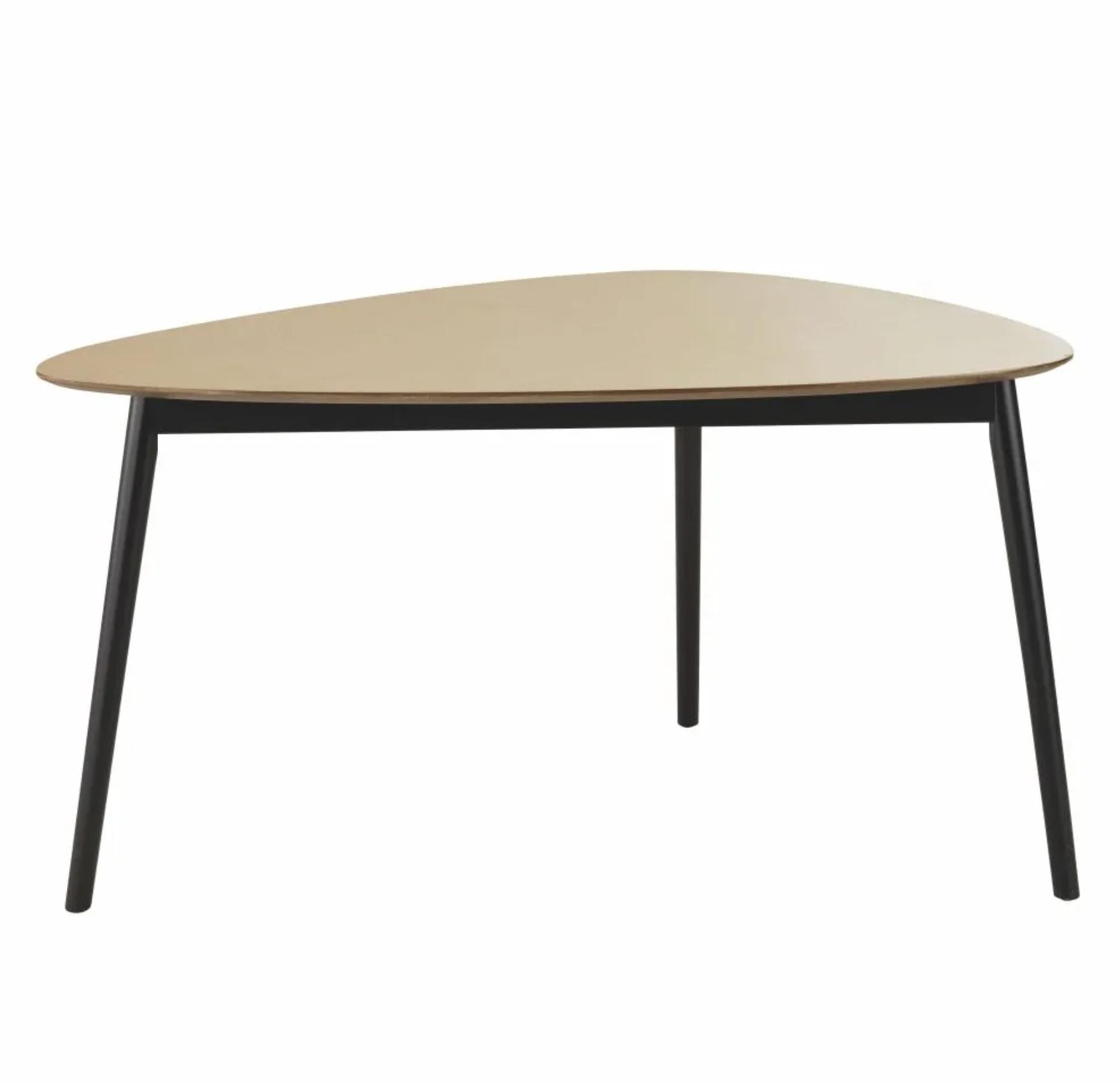 Mesa de comedor negra/natural para 4/5 personas, 140 cm de largo