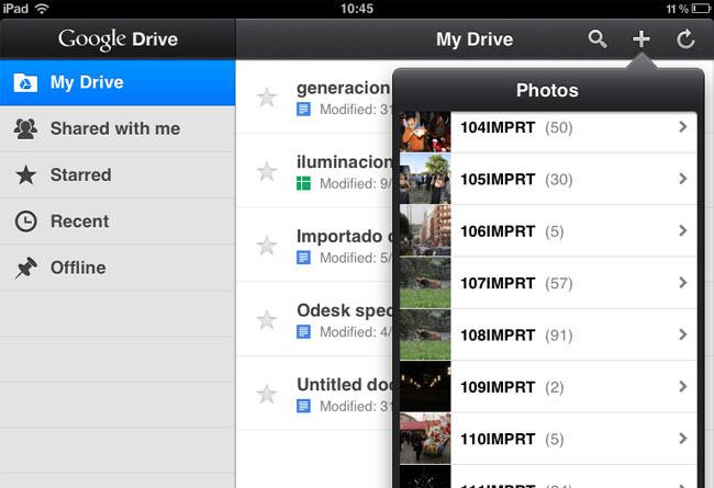 Pantallazo del Google Drive en el iPad